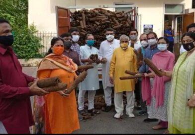 विश्व हिंदू परिषद और राष्ट्रीय गोधन महासंघ दान करी गोबर से बनी हुई लकड़ियाँ